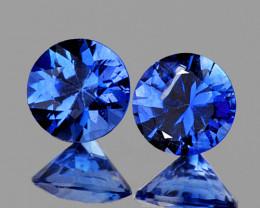 3.60 mm Round 2 pcs 0.40ct Blue Sapphire [VVS]