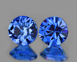 3.50 mm Round 2 pcs 0.41ct Blue Sapphire [VVS]