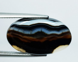 14.75 ct Natural Black Lace Agate Oval Cabochon  Gemstone