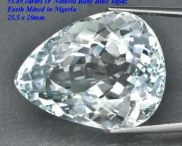 55.89ct  IF Blue Topaz - Nigeria  25.5 x 20.0 x 15.0 mm