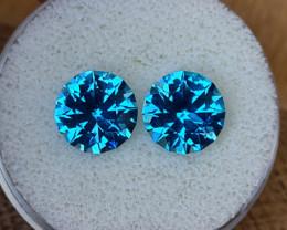 8,10ct Swiss blue Topaz pair - Master cut!