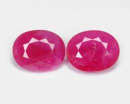 *No Reserve*Ruby BURMA 5.09 Cts 2pcs Pair Pinkish Red Natural Loose Gemston