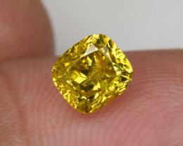 1.00 Ct Fancy Vivid Yellow Loose Natural Diamond Cushion Solitaire