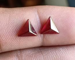 Natural Garnet Cabochon Caliberated Pair Genuine Gemstones VA5355