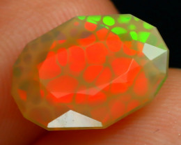 1.51Ct Honeycomb Pattern Rolling Neon Flash Faceted Welo Opal C0106