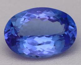 5.73Ct Natural Vivid Blue Tanzanite VVS Flawless Oval Master Cut C0109