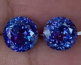 9.00 CT 10X10 MM  Excellent Cut Rare Violet Blue Tanzanite Pair - TN25
