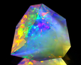 2.98Ct Ethiopian ContraLuz Flash Fire Opal Crystal Precision Cut C0120