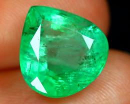 3.75Ct Colombian Emerald Pear Cut Natural Green Color Emerald C0121