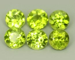 5.45 CTS~GENUINE NATURAL GREEN PERIDOT ROUND PARCEL 6 PCS~ECELLENT!!