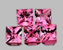 4.00 mm Square Princess 5 pcs 1.64cts Pink Tourmaline [VVS]