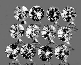 2.50 mm Round 12 pcs 0.98ct White Sapphire [VVS]