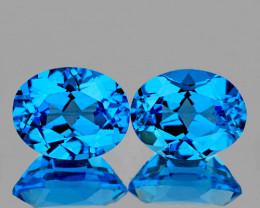 9x7 mm Oval 2 pcs 4.83cts Swiss Blue Topaz [VVS]