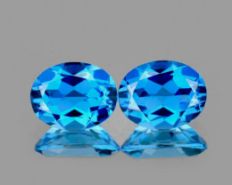 9x7 mm Oval 2 pcs 4.39ts Swiss Blue Topaz [VVS]