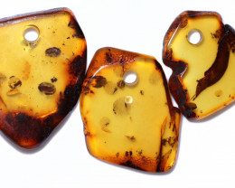 56 Cts  Natural  Amber Slice  Beads Parcel  from Poland  code CCC2936