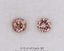 0.12 ct of 2 pcs Fancy Copper Pink Loose Natural Diamonds Pair Round