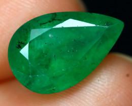 3.50Ct Zambian Emerald Pear Cut Natural Green Color Emerald A0229