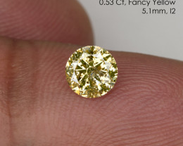 0.53 Ct. 5.1mm Fancy Yellow Loose Natural Diamond Round Solitaire