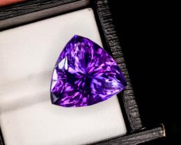 Monster !! Unbelievable Purple 22.35 Ct Natural Trillian Cut Amethyst ~ Bra