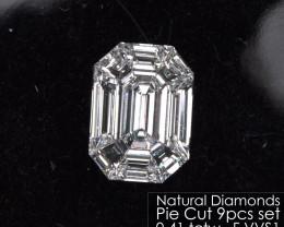 Pie Cut Emerald 0.41 tctw. of 9 pcs F VVS Loose Natural White Diamonds Set