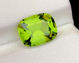 Parrot Green Color 4.00 Ct Natural Step Cushion Cut Top Quality Peridot