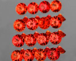 1.70 mm Round Machine Cut 35pcs 1.12ct Orange Red Sapphire [VVS]