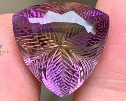 Trillion Shape Hand-carved faceted Natural Ametrine