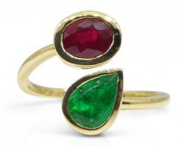 Vivid Red Burmese Ruby & Vivid Green Colombian Emerald 'Toi et Moi' Ring se