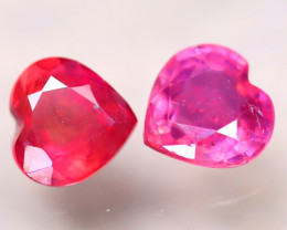 Ruby 2.00Ct 2Pcs Heart Shape Madagascar Blood Red Ruby EN67/A20