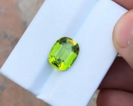 HGTL CERTIFIED 4.48 Ct Natural Greenish Transparent Peridot Gemstone