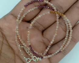 Natural Gemstone Beaded Necklace with Genuine Sterling Silver VA5430