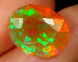 3.15Ct Honeycomb Bright Neon Rolling Flash Faceted Welo Fire Opal B0326