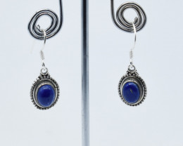 LAPIS EARRINGS 925 STERLING SILVER NATURAL GEMSTONE E134