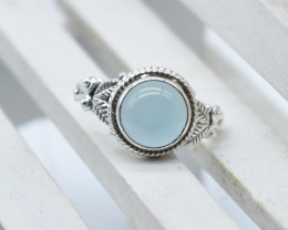 CHALCEDONY RING 925 STERLING SILVER NATURAL GEMSTONE JR1142