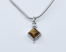TIGER EYE PENDANT 925 STERLING SILVER NATURAL GEMSTONE JP323