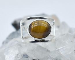 TIGER EYE RING 925 STERLING SILVER NATURAL GEMSTONE JR1143