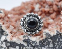 BLACK ONYX RING 925 STERLING SILVER NATURAL GEMSTONE JR1145