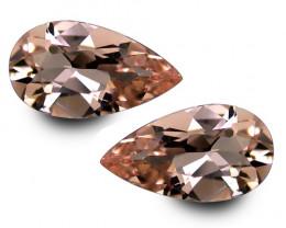 2.48Cts Beautiful Natural Peach Pink Color Morganite Pear Shape Matching Pa