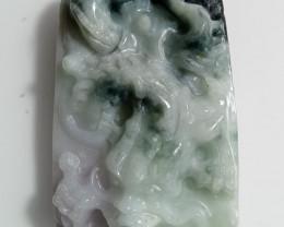 Natural Grade A Jadeite Jade Dragon Carving Pendant