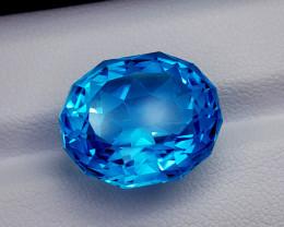 22.35CT BLUE TOPAZ PRECISION CUT BEST QUALITY GEMSTONE IIGC19
