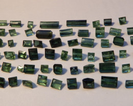 41.05 carats green to dark green faceted and cut tourmaline Lot 64 pcs
