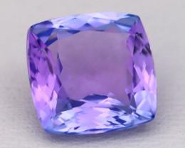 3.45Ct Natural Purplish Blue Tanzanite VVS Flawless Square Master Cut C0413