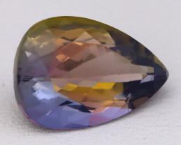 5.94Ct Natural TriColor Tanzanite VVS Flawless Precision Pear Cut C0417