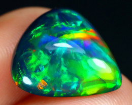 Opal 4.06Ct Fern Chaff Neon Flash Ethiopian Welo Black Smoked Opal C0421