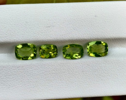4.13 Cts Natural Parrot Green Peridot Cushion Cut 4Pcs Pakistan