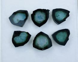 Rare Indicolite-Tourmaline Slices 16.40 Carat 6 Pieces almost Pair