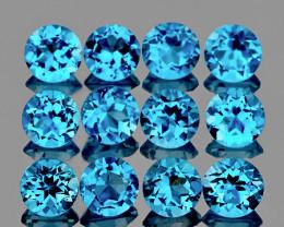 4.00 mm Round 12 pcs 3.92cts Swiss Blue Topaz [VVS]