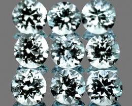 3.50 mm Round 9 pcs 1.41ct Very Light Blue Aquamarine [VVS]