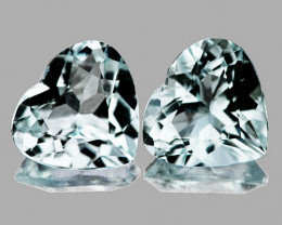 6.00 mm Heart 2 pcs 1.45cts Light Blue Aquamarine [VVS]