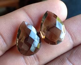 15 CT Smoky Quartz Checkered Cut Pair 100% Natural Gemstones VA5447